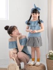 親子系列~荷葉蕾絲滾邊平口牛仔高含棉上衣