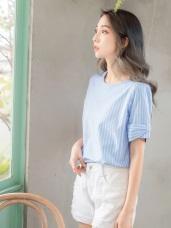 條紋蝴蝶結造型短袖上衣