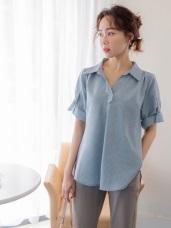 不易皺涼爽袖造型V領開襟襯衫
