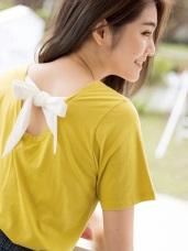 蝴蝶結綁帶微露背圓領素色上衣