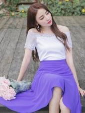 兩穿式鏤空蕾絲袖拼接純色方領/一字領上衣