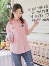 高含棉可愛魚兒刺繡設計澎袖襯衫