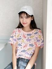 高含棉手繪感可愛貓咪燙印T恤/上衣