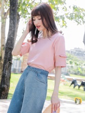 高含棉配色荷葉袖拼接純色圓領T恤/上衣