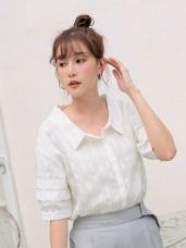 多層次袖口設計直紋排釦襯衫