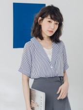 不易皺知性條紋交疊設計假兩件式雪紡上衣