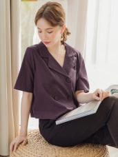 簡約雙排釦高含棉襯衫/外套