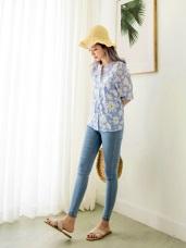 高含棉滿版花朵細條紋五分袖上衣