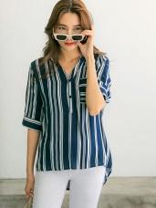 線條感五分袖口袋V領襯衫