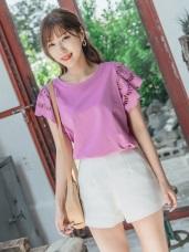 婚禮系列~高含棉鏤空蕾絲雕花拼接袖純色上衣
