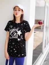 高含棉繡線字母星星燙印T恤/上衣