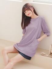 台灣製造. 高含棉純色口袋五分袖長版寬鬆T恤/上衣