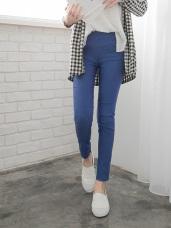 剪接造型釦飾顯瘦窄管褲