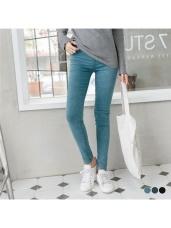 魅力加分~極細感彈力修身雪花洗色窄管褲.3色