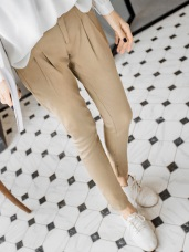 方格紋反折褲管打摺老爺褲