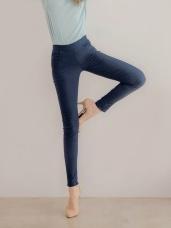 芭蕾舞褲-腰鬆緊輕刷毛彈力窄管褲