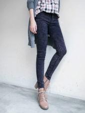 雪花刷色輕刷毛彈性窄管褲