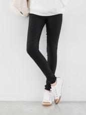 暖瘦時尚~抹腹設計拉鍊刷毛彈力窄管褲‧3色