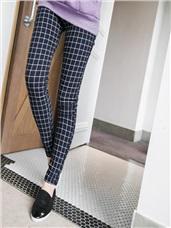 時尚花色顯瘦修身輕刷毛窄管褲.6色