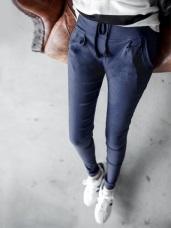 質感彈性面料打褶抽繩設計長褲