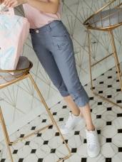 高含棉拉長比例斜口袋打摺七分褲