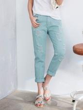 高含棉硬挺質感破損感設計牛仔男友褲