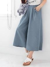 輕著流行~嚴選牛仔打摺設計九分寬褲