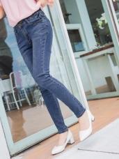 彈性雙排釦刷色破損棉感牛仔褲