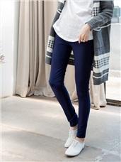 雙層車縫厚實保暖窄管褲