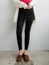 雕花布蕾絲短裙拼接假兩件內搭棉褲