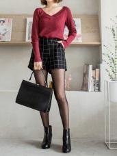英倫風格質感格紋短褲