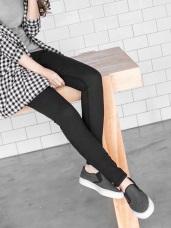 棉感素色顯瘦彈性開釦窄管褲.6色