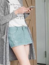 個性刷破下襬抽鬚糖果色高含棉短褲裙.8色