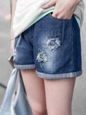 破損設計X撞色星星刺繡抽繩牛仔短褲