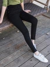 腰鬆緊袋口配色繡花彈力窄管褲