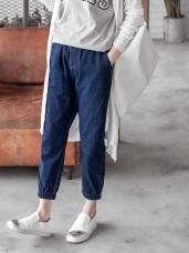 高含棉褲管縮口舒適鬆緊腰頭牛仔褲