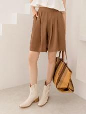 純色雪紡打摺設計五分寬褲.4色