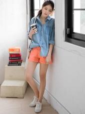 素色多彩高含棉舒適反折短褲.12色