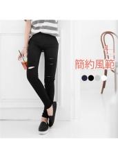 素色個性抓破修身彈性窄管長褲.4色