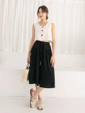 素色腰鬆緊綁帶寬版褲裙.5色