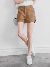 素色斜紋質感開釦前短後長短褲.6色