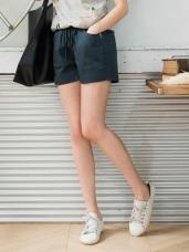腰圍鬆緊抽繩綁帶純色斜紋短褲.6色