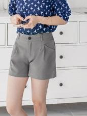 後腰鬆緊素色打褶西裝短褲.4色