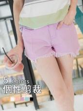 多色斜紋抽鬚剪裁造型短褲.5色