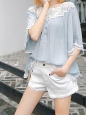 開釦百搭褲管蕾絲造型斜紋短褲.6色