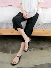 直條壓紋涼感垂綴素色綁帶七分寬褲.4色