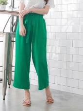 亮彩素色腰鬆緊綁帶寬版九分褲.2色