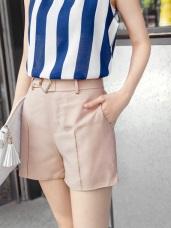 金屬菱形綁帶打褶造型知性短褲.2色