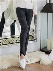 層次感刷色褲管開衩破損造型開釦窄管褲‧2色