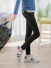 金屬釦高腰彈性九分窄管牛仔褲